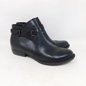 Born Black Leather Ankle Boots Moto 9.5